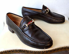GUCCI Horsebit Drk Brown Leather Loafer Shoes Sz 45 Italy Authentic Rare Vintage