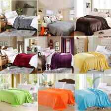 Super Soft Plush Mink Fleece Queen King Bed Sofa Throw Blanket 9 Solid Colors
