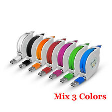 1-3M 2A Retractable Micro USB 7-Color Quick Data Sync Charger Charging Cable Lot