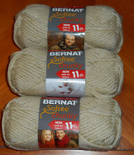Bernat Softee Chunky Yarn Lot Of 3 Skeins (Linen #28021)
