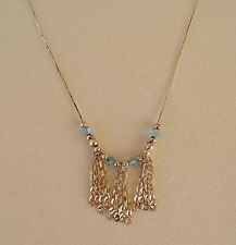 DELICATE SILVER NECKLACE WITH CHAIN FRINGE AND PALE BLUE STONES ~ marked 925