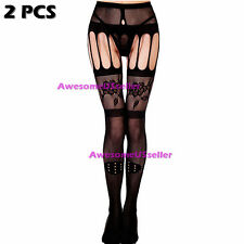 Hot Women Lace Mesh Lingerie Garter Belt Fishnet Thigh High Stocking Pantyhose