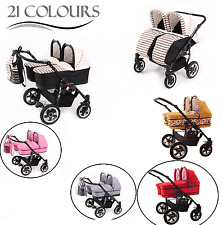 DOUBLE DUET- TWIN PRAM WITH 2 PUSHCHAIR UNITS - 2 CARRY COTS AND ALL ACCESSORIES