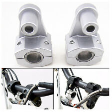 "Silver 7/8"" Handlebar Handle Fat Bar Mount Clamps Riser for Dirt Bike Motocross"