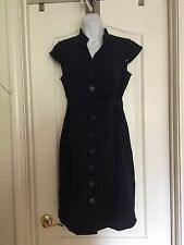 CALVIN KLEIN Navy button front belted career dress SZ 8P - EUC