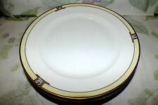 HAVILAND FRANCE Mutual China yellow black gold ART DECO DINNER PLATES 4 EXC