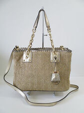 Michael Kors Rosalie Medium Tote Straw Gold Leather Satchel Handbag