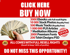 +5000 Products with Full Resell rights - Ebooks Stock Photos Music Articles