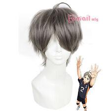 Haikyuu Sugawara Koushi Straight 25cm Short Grey Anime Full Cosplay Wig ML195
