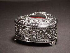 Silver Color Decorated Jewellery HEART Trinket Box Lined With Dark Velveteen