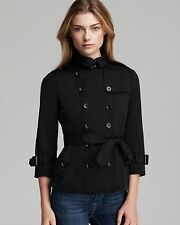 NWT Authentic Burberry Shenstone Peplum Double Breasted Jacket, Black Women US8