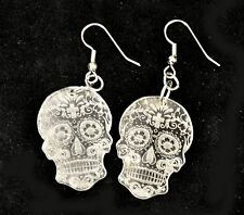 Sugar Skull Day of the Dead Dia de los Muertos Laser Cut Tattoo earrings CLEAR