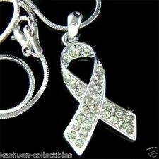 w Swarovski Crystal Gray ~Brain Cancer & Tumor Awareness Ribbon Pendant Necklace