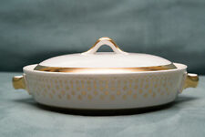 Vintage Flare-Ware Chafing Dish & Lid Casserole Atomic White Gold MCM Hall China