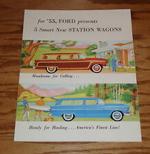1955 Ford Station Wagons (5 New Ones) Foldout Sales Brochure 55