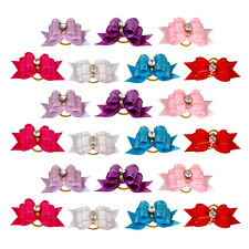 20pcs/lot Rhinestone Ribbon Pet Cat Dog Hair Bows Grooming Accessories Wholesale