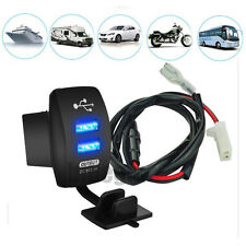 Auto Boat Bike Blue LED indicator 12V GPS iPhone 6 6s 7 Dual USB Charger Switch