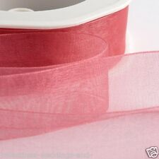 Full Reel Organza Ribbon Woven Edge Sheer Quality Crafts 20m 50m Roll