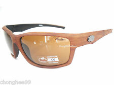 Indian Motorcycle Sunglass Mens Wood Look Plastic Frame Brown & Black Wraparound