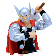 "Marvel Avengers Thor Bust Figure Coin Bank - 8"" 3D Figure Silver Suit"
