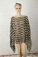Lady Poncho Stole Cape Shrug Wrap Shawl Jacket Jumper Hollow Out Colorblock Rare