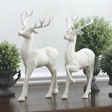 "RAZ Imports~12.5"" Winter White Glittered Standing Deer~Set 2~Christmas~Reindeer"
