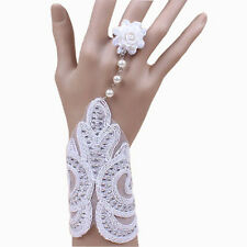 Vintage Gothic Style Bridal White Lace Bracelet & Ring Wrist Decoration BB144