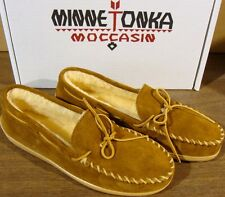 MINNETONKA SUEDE PILE LINED MOCCASINS BROWN MENS 13 W