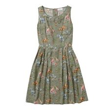 BNWT Cath Kidston Sleeveless Khaki Safari Print Dress 16