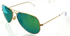 RAY BAN 3025 58 AVIATOR SATIN GOLD GREEN MIRROR POLARIZED PERSONALIZZATO REMIX