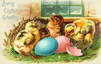 Fabric Block Vintage Easter Postcard Printed onto Fabric Easter Chicks Eggs