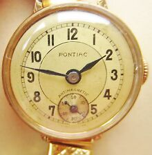 Art Deco Swiss Ladies 20 Microns Gold Plated Pontiac Bracelet Watch for Sale