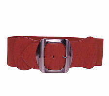Elasticated Wide Waist Belt Silver Big Buckle Party Casual Waistband FP780