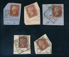 PENNY REDS GLASGOW EXPERIMENTAL CANCELS...5 ITEMS...MADELEINE SMITHS 1856-57