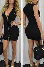 Abito aperto Nudo aderente Zip scollo spacco Nude Zipper Mini Bodycon Dress
