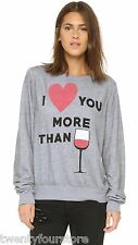 NWT $109 Wildfox Couture Baggy Beach Jumper Gray I Love You More Than Wine sz M