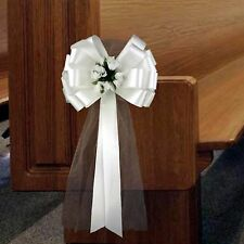 6 White Pull Pew Bows Tulle Rosebuds Church Wedding Ceremony Party Decorations