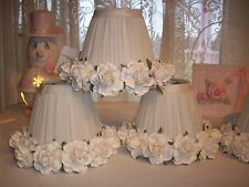 SMALL WHITE ROSE LAMP SHADES FOR SINGLE LAMPS, CANDLE LAMPS, CHANDELIER LAMPS