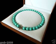 """10mm Natural Turquoise Blue South Sea Shell Pearl Heart Clasp Necklace 18"""" AAA+"""