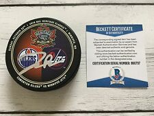 Darnell Nurse Signed 2016 Heritage Classic Oilers Hockey Puck Beckett BAS COA a