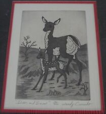 "Woody Crumbo Native Potowatomi limited edition, signed ""Deer and snow"" etching"