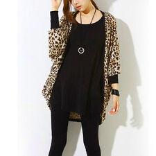 Sommer Cardigan Strickjacke Damen Strick Jacke Leopard Lang Langarm Sexy ET