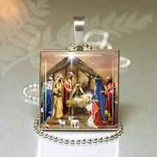 Vintage CHRISTMAS NATIVITY CHARM NECKLACE Religious Christmas Gift PENDANT