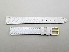 13mm Genuine Exotic Peru & leather white hand made watch band strap NOS lady's