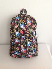 DISNEY LOUNGEFLY ALICE IN WONDERLAND FLORAL BACKPACK w/LAPTOP POCKET - NWT