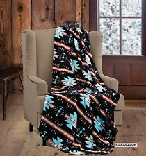 "Native Black Turquoise Soft Light Weight Fleece Cashmere Throw Blanket 60""x80"""