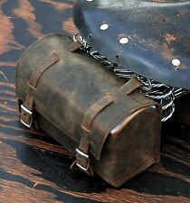 Vintage Brown Leather Bike TOOL BOX BAG Schwinn Cruiser Bicycle Saddle Road Seat