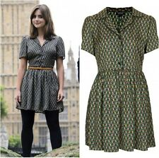 Topshop Cosplay Green Black Silky Tile Print Piped Shirt Dress - Size 10
