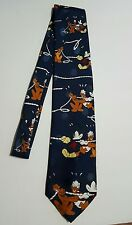 Disney Mickey Mouse Donald Duck Pluto Tug of War Men's Blue Tie Made in Italy