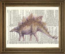 Estegosaurio Dinosaurio impresión: Vintage Monster Reptil Antiguo Diccionario De Arte
